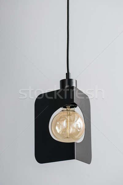 Hanging metal black edison lamp Stock photo © bezikus