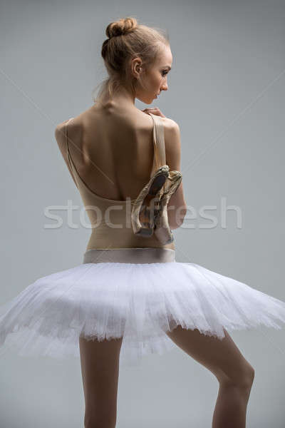 Portrait of young ballerina in white tutu Stock photo © bezikus