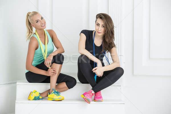 Stock photo: Two cute girls athletic