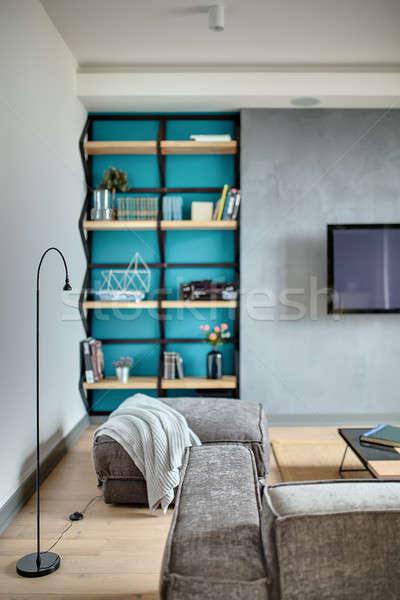 Interni stile moderno grigio muri blu nicchia Foto d'archivio © bezikus