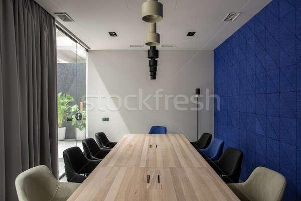 スタイリッシュ 会議室 グレー 青 壁 会議室 ストックフォト © bezikus