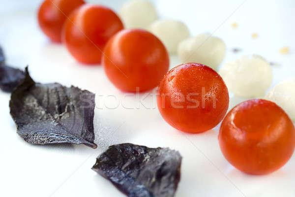 Mozzarella tomaten lijn basilicum voedsel Rood Stockfoto © bezikus