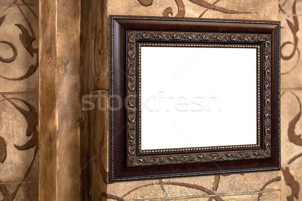 Stock fotó: Fából · készült · öreg · keret · fal · üres · tartalom