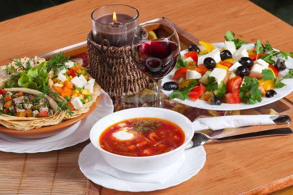 Diner russo tradicional picante sopa madeira Foto stock © bezikus
