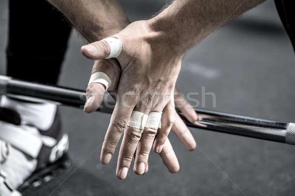 ストックフォト: 手 · バーベル · バー · マクロ · 写真