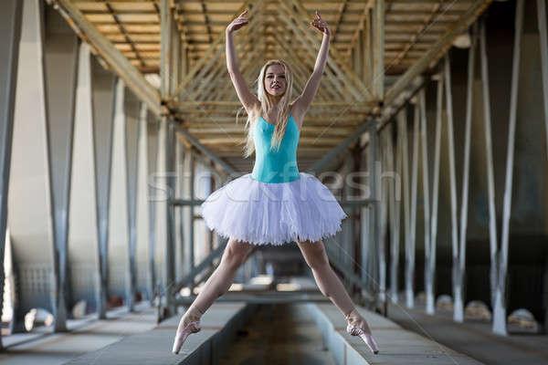 Graceful ballerina in the industrial background Stock photo © bezikus