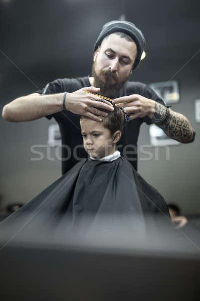 小 少年 用心深い 理髪 あごひげ ストックフォト © bezikus