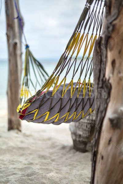Primer plano foto hamaca playa almohada colgante Foto stock © bezikus