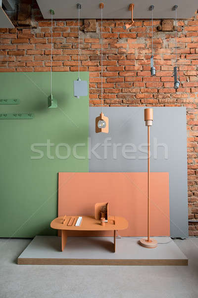 Loft style interior with colorful furniture Stock photo © bezikus