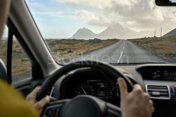View at Icelandic landscape from inside car Stock photo © bezikus