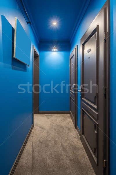 Elegancki korytarz hotel kolorowy niebieski ściany Zdjęcia stock © bezikus