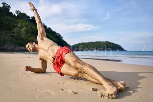 Vent opleiding strand daglicht schieten mooie Stockfoto © bezikus