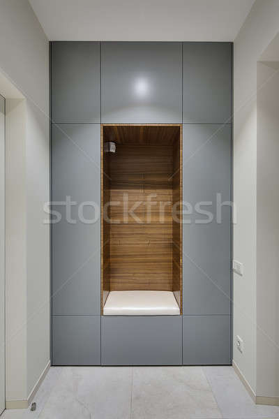 Muur nis grijs houten witte kussen Stockfoto © bezikus