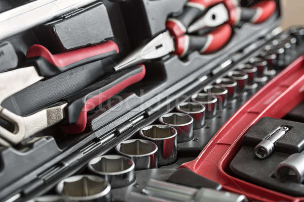Toolbox with black-red instruments Stock photo © bezikus