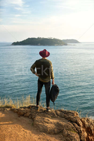 Traveler posing outdoors Stock photo © bezikus