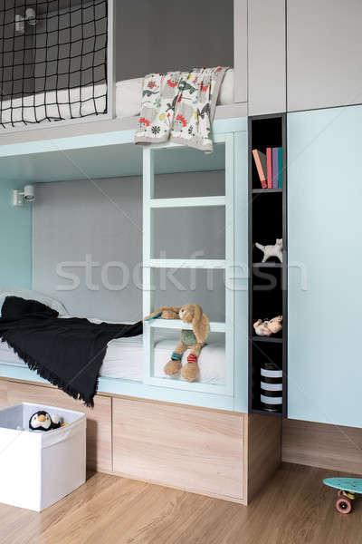 Stock fotó: Szoba · modern · stílusú · padlás · ágy · szép · gyerekek
