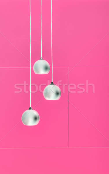 Pimk negative collage of three ceiling lights Stock photo © bezikus