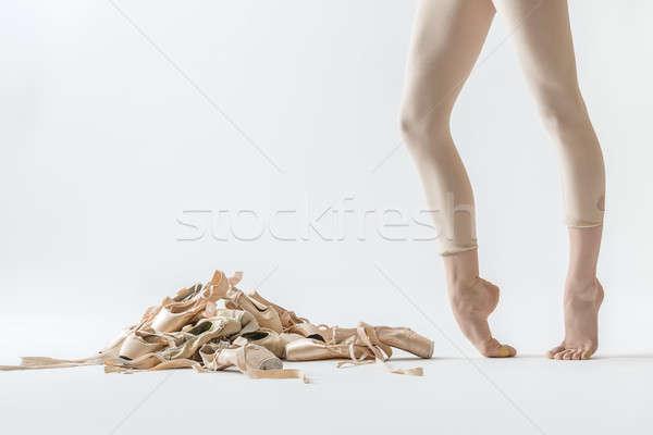 Stockfoto: Balletdanser · benen · schoenen · beige · licht