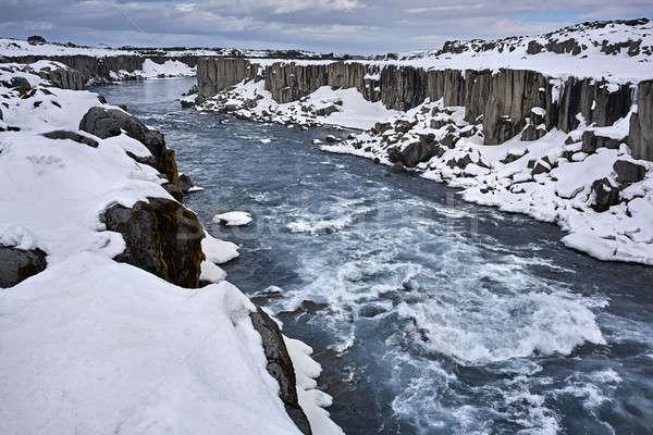 Icelandic landscape with canyon and river Stock photo © bezikus