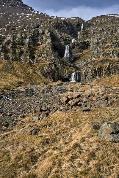 Icelandic landscape with creek between rocks Stock photo © bezikus