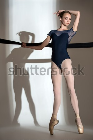 Portrait of the young fragile ballerina with an iron bronze mask Stock photo © bezikus