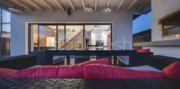 Glowing modern country house Stock photo © bezikus
