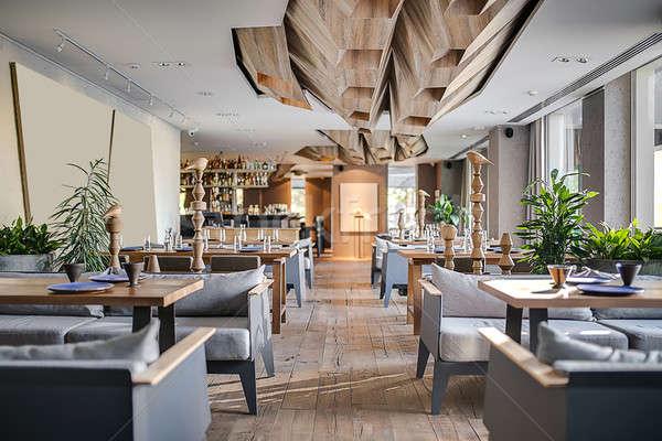 Kaffeehaus · modernen · Stil · Restaurant · Wände · grau ...