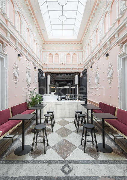 Restaurant stuc café antique blanche rose Photo stock © bezikus