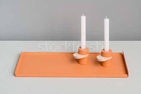 Métal orange soutien excellente métallique deux Photo stock © bezikus