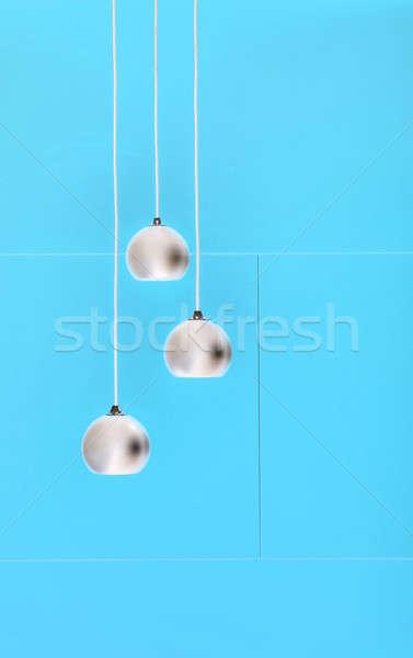 Mavi negatif kolaj üç tavan ışıklar Stok fotoğraf © bezikus