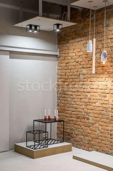 çatı katı stil iç gri tuğla duvarlar Stok fotoğraf © bezikus