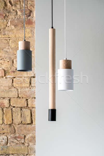 Asılı farklı lambalar kablolar gri Stok fotoğraf © bezikus