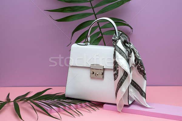 Női bőr táska elegáns fehér selyem Stock fotó © bezikus