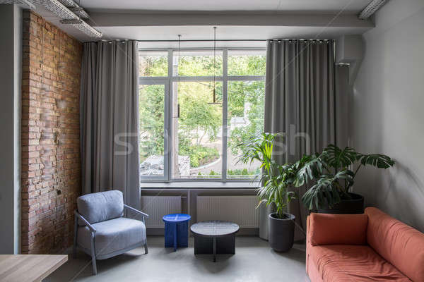 スタイリッシュ オフィス ロフト スタイル グレー 壁 ストックフォト © bezikus