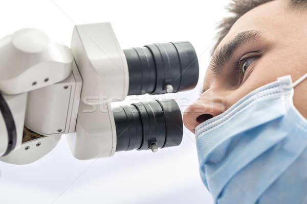 Orvos fogászati mikroszkóp makró fotó fogorvos Stock fotó © bezikus