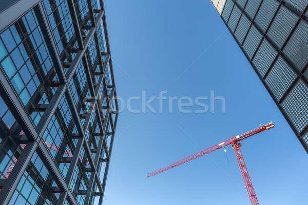 красный башни крана зданий Blue Sky улице Сток-фото © bezikus