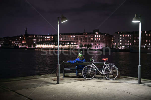 Night cityscape of Copenhagen's embankment Stock photo © bezikus