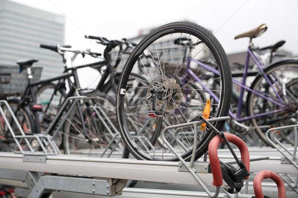 Veel fietsen parkeren fiets fietsen stadsgezicht Stockfoto © bezikus