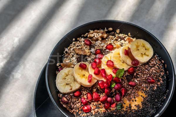 Gyümölcs mix tál fekete trópusi étel keverék Stock fotó © bezikus