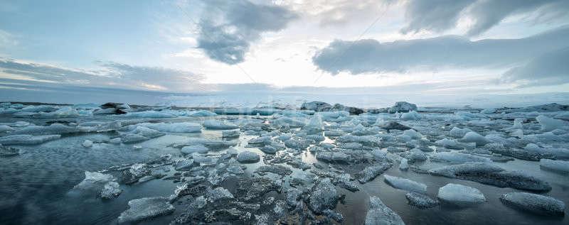 Icelandic landscape of icy sea surface Stock photo © bezikus
