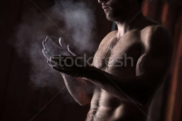 hands with chalk Stock photo © bezikus