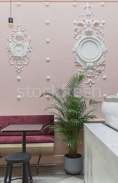 кафе штукатурка ресторан белый розовый стены Сток-фото © bezikus
