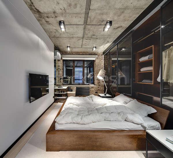 Vliering stijl slaapkamer muur beton plafond Stockfoto © bezikus