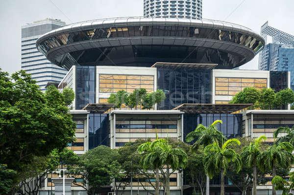 Moderne architectuur groene bomen stadsgezicht tijdgenoot glazen gebouw Stockfoto © bezikus