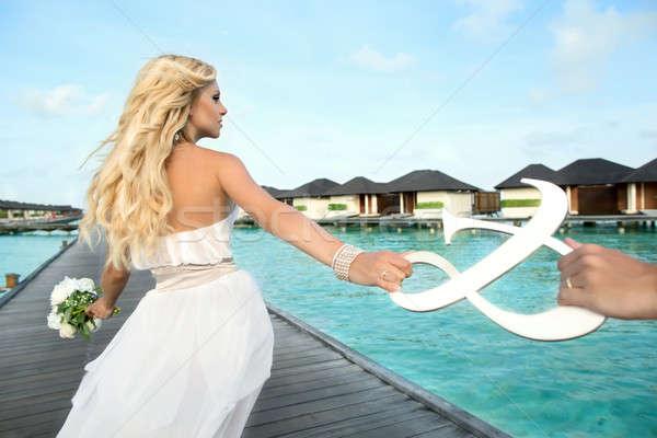 Gelin Maldivler düğün fotoğraf eller el Stok fotoğraf © bezikus
