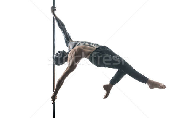 Photo stock: Homme · pôle · danseur · parfait · horizontal · studio
