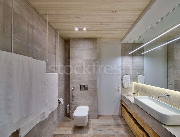 Moderne stijl badkamer tegels houten plafond Stockfoto © bezikus