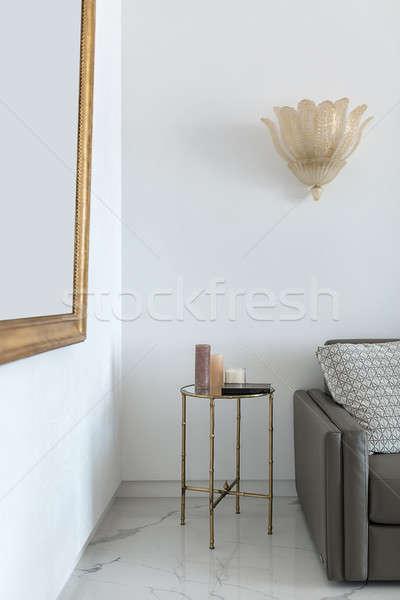 Foto stock: Interior · estilo · moderno · pequeno · metal · tabela · vidro