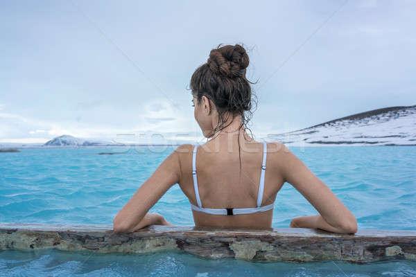 Zdjęcia stock: Dziewczyna · relaks · basen · odkryty · cute · biały