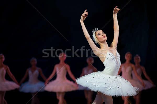Stock fotó: Ballerina · fehér · hattyú · színpad · tánc · egyéb